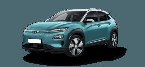 Hyundai Kona Electric appelblauwzeegroen