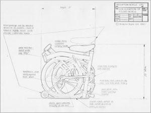 originele schets voor een Brompton vouwfiets